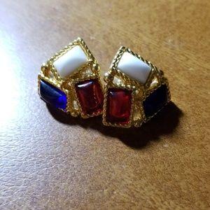 Trifari Patriotic Post Earrings